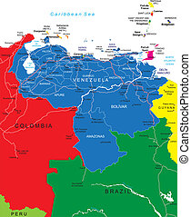 Venezuela map - Highly detailed vector map of Venezuela with...