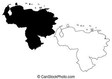 Venezuela map vector illustration, scribble sketch Venezuela