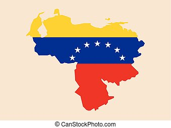 Venezuela map with flag inside