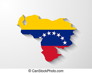 Venezuela map with shadow effect