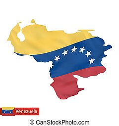 Venezuela map with waving flag of country.