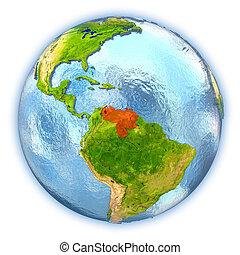 Venezuela on isolated globe