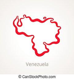 Venezuela - Outline Map - Outline map of Venezuela marked...