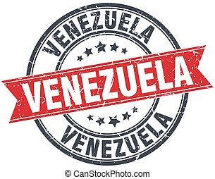 Venezuela red round grunge vintage ribbon stamp