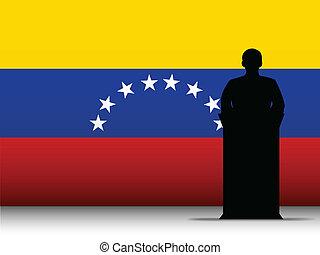 Venezuela Speech Tribune Silhouette with Flag Background -...