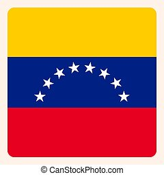 Venezuela square flag button, social media communication...
