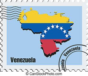 venezuela, vecteur, timbre