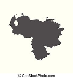 Venezuela vector map. Black icon on white background.