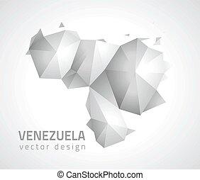 venezuela, vektor, triangel, perspektiv, karta