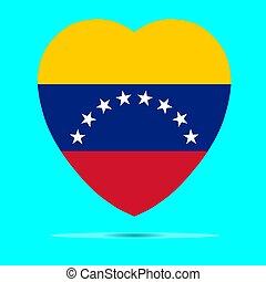 venezuela, vettore, cuore, bandiera, forma