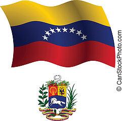 venezuela wavy flag and coat of arm against white...