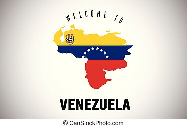 Venezuela Welcome to Text and Country flag inside Country border Map Vector Design.