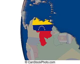 Venezuela with national flag