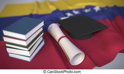 venezuelan, bildung, venezuela, diplom, kappe, animation,...