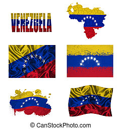 Venezuelan flag collage - Venezuela flag and map in...