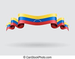venezuelan, ondulado, bandeira, illustration.