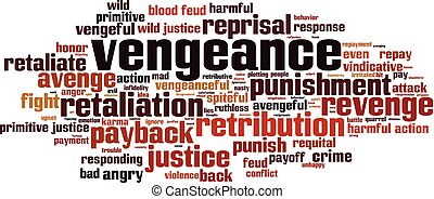 Vengeance word cloud concept. Vector illustration