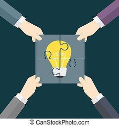 venha, fazer, idéia, ilustração, trabalho equipe, verdadeiro
