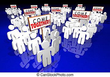 venha, junto, pessoas, reunião, sinais, animação 3d