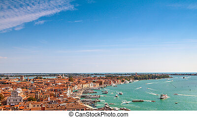 Venice aerial cityscape view from San Marco Campanile, sunny day