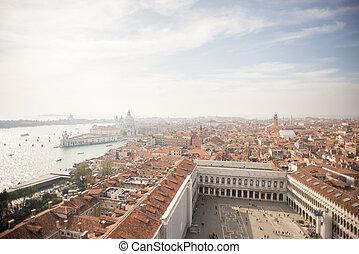 Venice. Aerial view of the Venice with Basilica di Santa Maria della Salute and Piazza San Marco