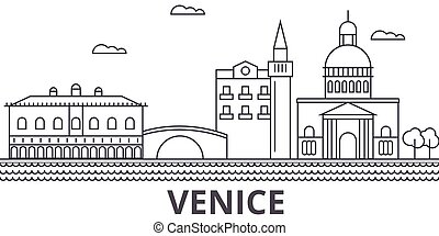 Venice architecture line skyline illustration. Linear vector cityscape with famous landmarks, city sights, design icons. Landscape wtih editable strokes