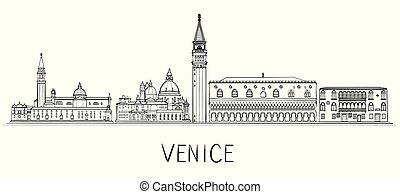Venice architecture skyline illustration. Black and white