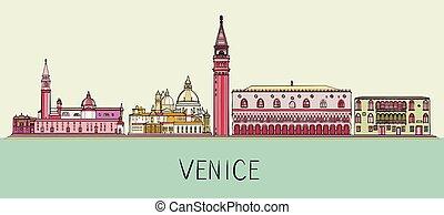 Venice architecture skyline illustration. Cityscape with famous landmarks, city sights