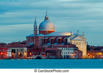 Venice. Basilica of Santa Maria della Salute at night.