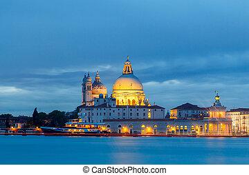 Venice. Basilica of Santa Maria della Salute at night.