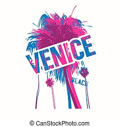 Venice beach colorful vector graphic t-shirt design, poster...
