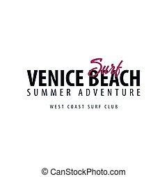 Venice Beach Surfing emblem or logo. Vector illustration.