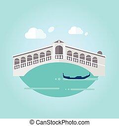 Venice Bridge and Boat in Flat Style Vector Illustration