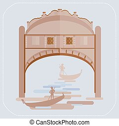 Venice Bridge of Sighs. Gondolier in a gondola. icon