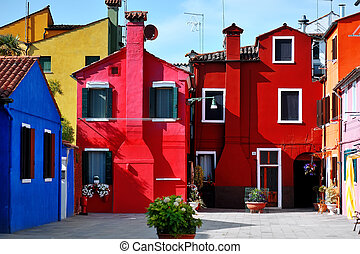 Venice, Burano island, colorful houses, Italy