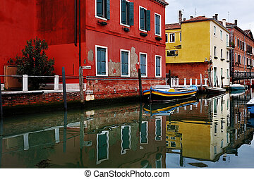 Venice canal and colorful houses, Italy