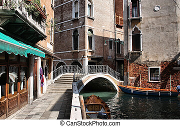 Venice canal - Canal in Venice. Colorful architecture, water...