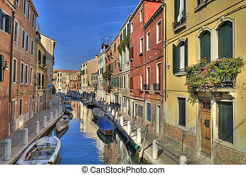 Venice Canal - Typical canal in Venice - Italy, with ...