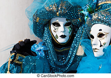 Venice carnival costume - Turquoise costume at the Venice...