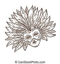 Venice carnival mask with feathers isolated sketch Mardi gras