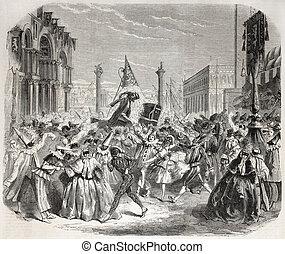 Venice Carnival - Old Illustration of Carnival in Venice....
