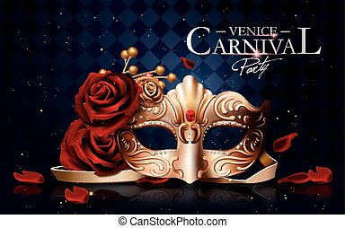 Venice carnival poster, golden mask with diamonds and roses...