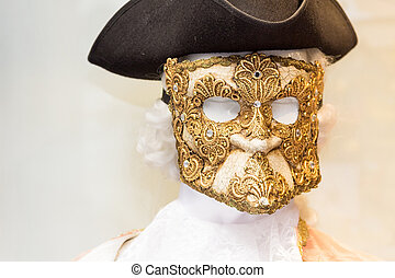 Venice Casanova carneval mask and costume on a display dummy