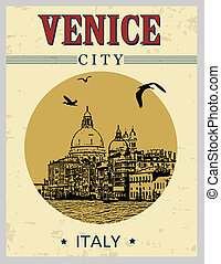 Venice city in vintage style poster