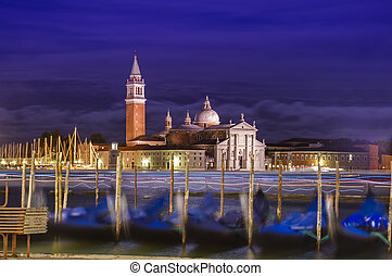 Venice cityscape at night. Italy