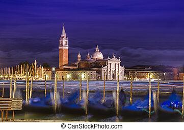 Venice cityscape at night. Italy