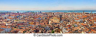 Venice cityscape - panorama view from Campanile di San Marco. UNESCO World Heritage Site.