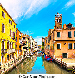 Venice cityscape, water canal, campanile church and ...