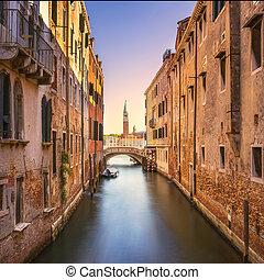 Venice cityscape, water canal, campanile church and bridge. Italy