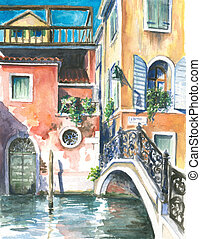 Venice - A view to the houses in Venice,and a canal crossed...